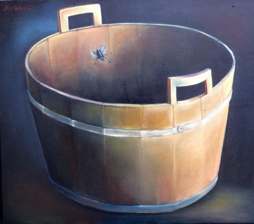 "Tub with fly - 24""x 28"" Private Collection"
