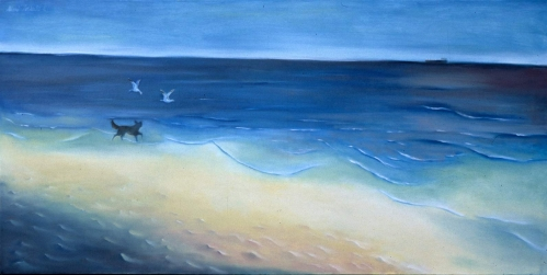 """Oso On The Beach 17"""" x 30"""" - Private Collection"""