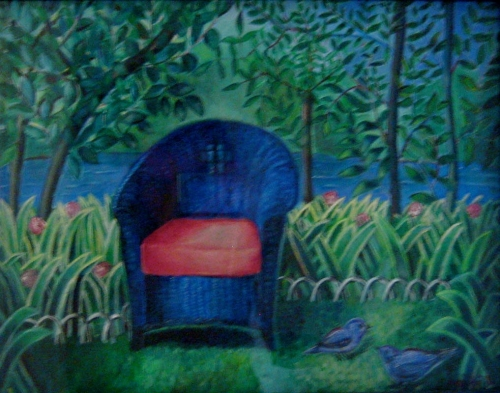 """In the Garden - 14""""x 18"""" Private collection"""