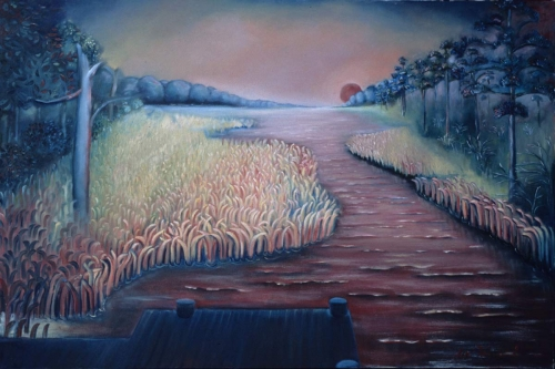 """Summer evening in Virginia Beach 30""""x 40""""   Private Collection"""