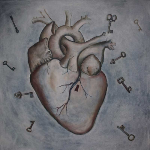 "Which key will open this heart 30""x30"""